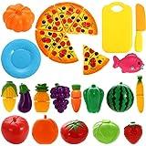 NIWWIN - Juego de 24 piezas de plástico con forma de frutas, verduras y pizza para cortar, juego educativo de simulación…