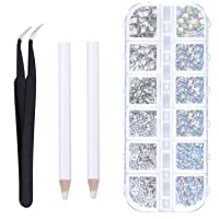 Elcoho 6 Sizes Crystals AB Nail Art Rhinestones and Clear Crystal Rhinestones with Pick Up Tweezer and Rhinestone Picker…