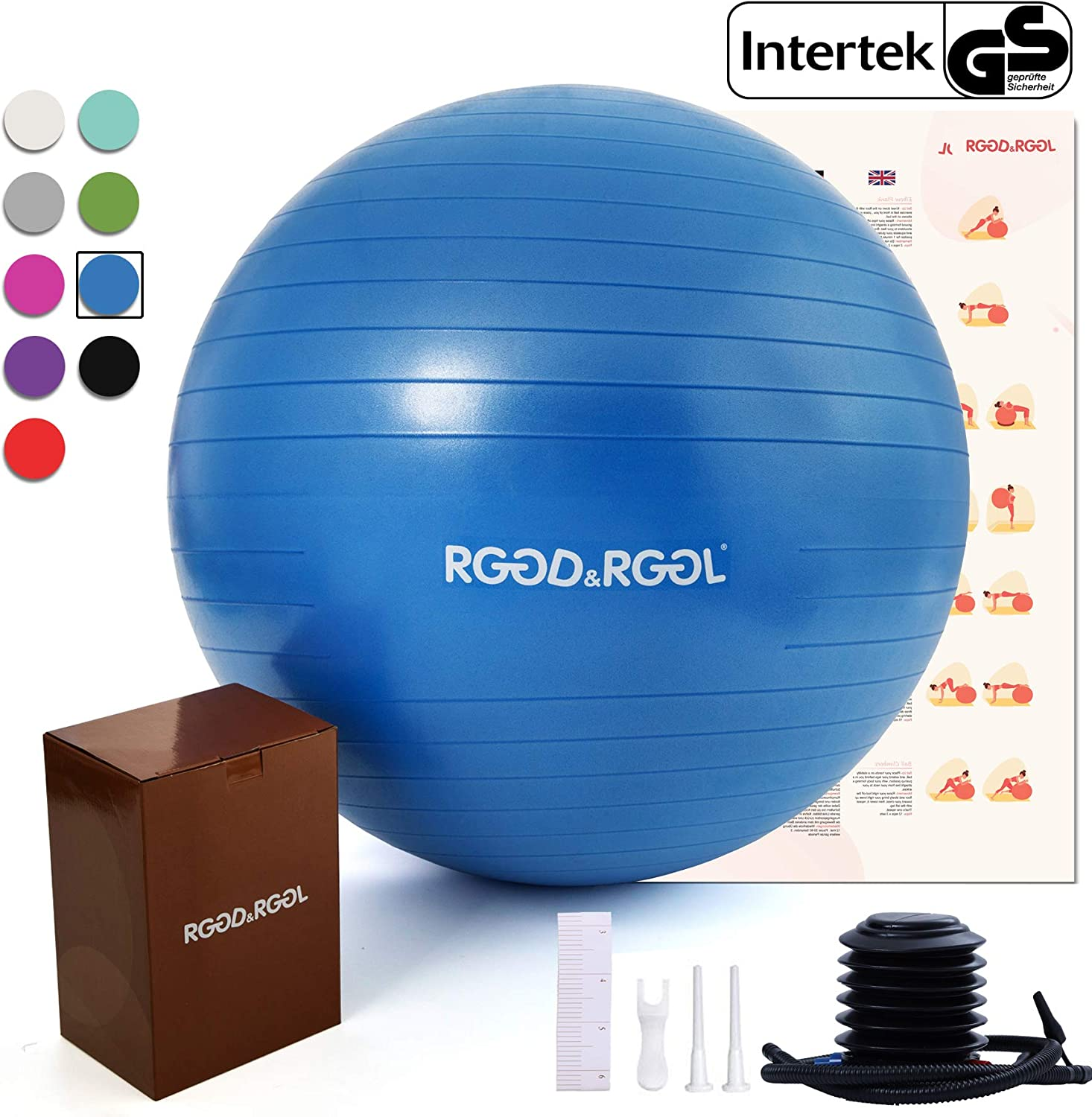 RGGD RGGL Exercise Ball 18-34in ,Professional Yoga Stability Ball Chair Extra Thick Anti-Burst Support 2200 lbs,with Quick Pump Workout Guide for Home Gym Office