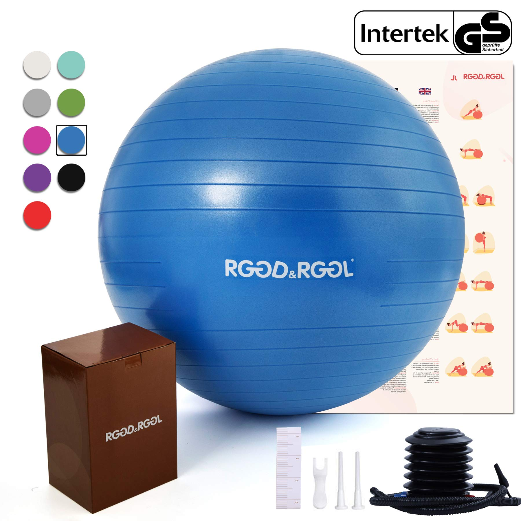 RGGD&RGGL Exercise Ball (18-34in),Professional Yoga Stability Ball Chair Extra Thick Anti-Burst Support 2200 lbs,with Quick Pump &Workout Guide for Home&Gym&Office (Dark Blue, 18inch)