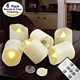 Tealights with Timer and Remote - Outdoor LED Flameless Candles - Battery Operated Flickering Votive Remote Control - Tea Light - Include CR2450 Battery Operated 200 Hours - Amber Yellow Flame 6-set