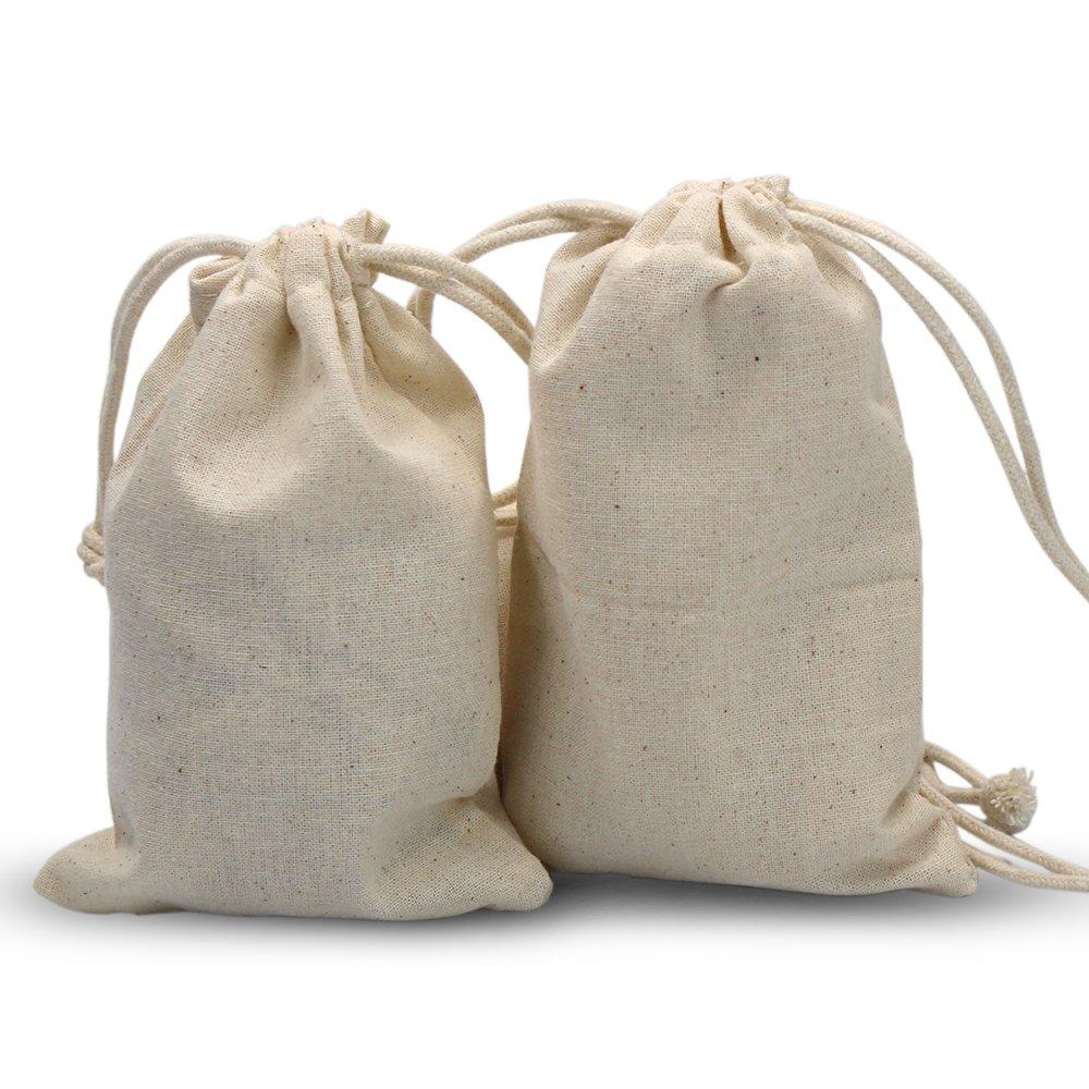 30 PCS Double Drawstring Cotton Linen Jute Cloth Sack Muslin Bags Jewelry Pouch Reusable Bags Tea Bags Souvenir Gift Bag (8 X 12 cm ) (WOOD)