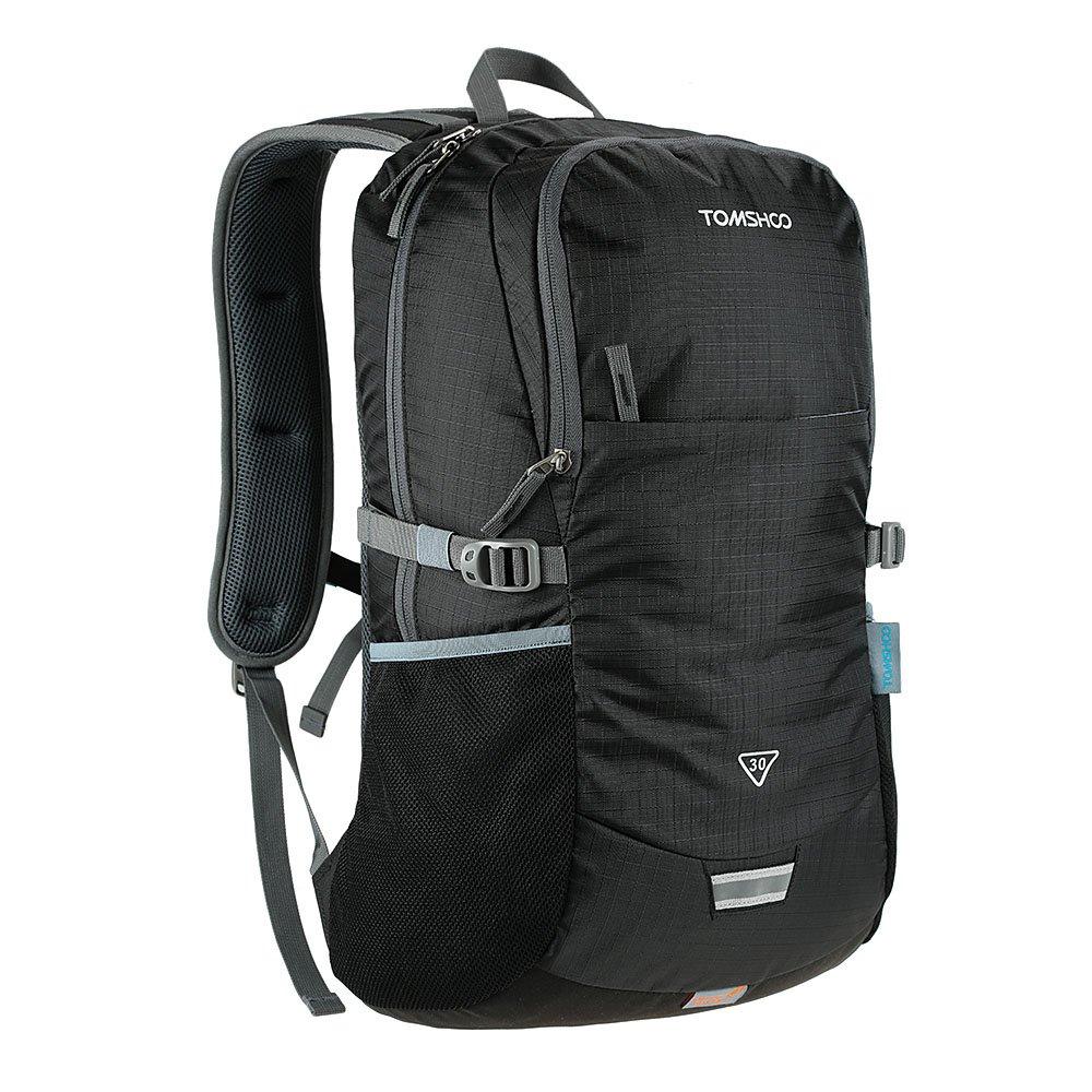 TOMSHOO リュックサック アウトドア レディース メンズ バックパック バッグ ナップザック 30L レインカバー付き B01HYYPR1Gブラック