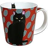 Leslie Gerry Bone China Mug, Black Cat