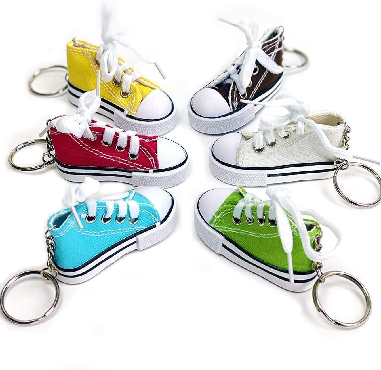 Praknu 12 Schlüsselanhänger Sneaker Mit Schnürsenkel Echt Wirkend Bunt Inkl Schlüsselring Küche Haushalt