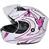 XFMT Pink Butterfly Flip Up Motorcycle Modular Full Face Women Motorcycle Helmet M