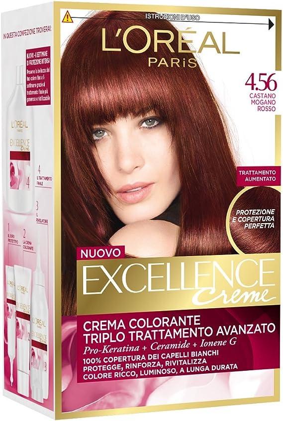 LOREAL EXCELLENCE 4.56 CASTANO - Tinte para cabello (3 unidades), color caoba rojo