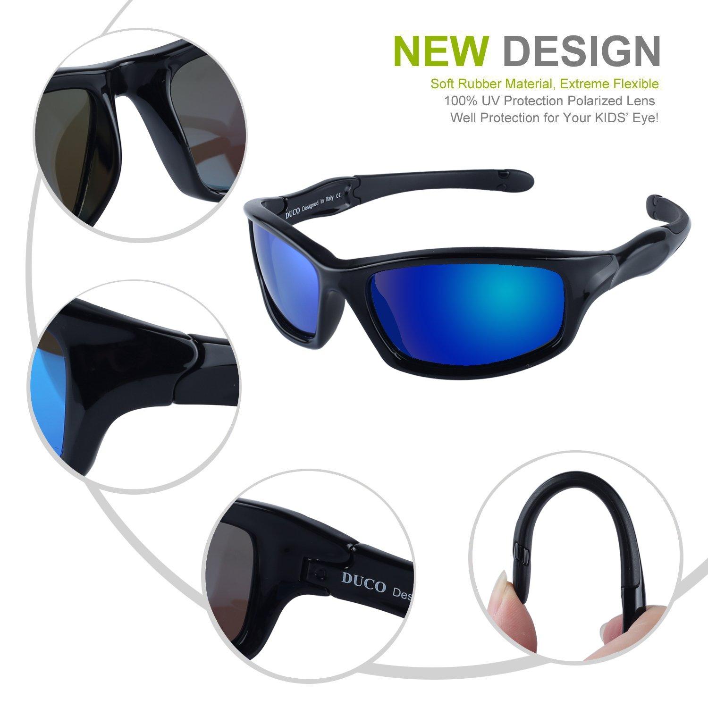 7be6bca78e3 Amazon.com  DUCO Kids Sports Style Polarized Sunglasses Flexible Frame For  Boys and Girls K006  Shoes