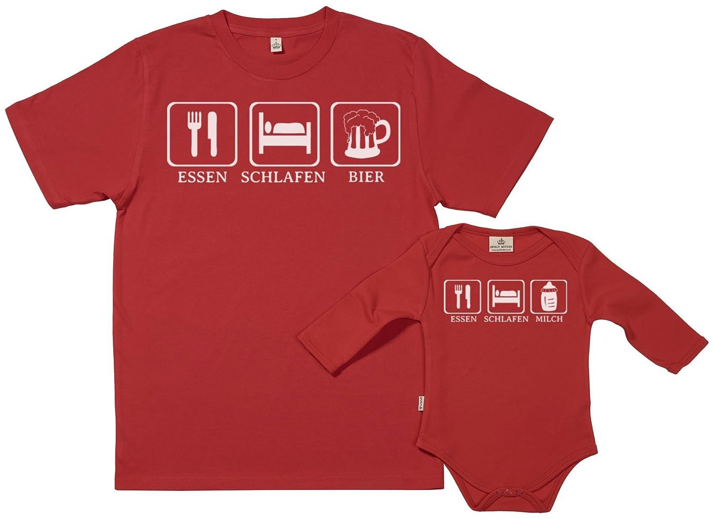 SR - Geschenkpackung Baby Geschenkset - Essen. Essen. Essen. Schlafen. Bier Milch - Papa T-Shirt & Baby Strampler in Geschenkbox - Vater Baby Geschenkset B018CNE1AQ T-Shirts Creative 10615e