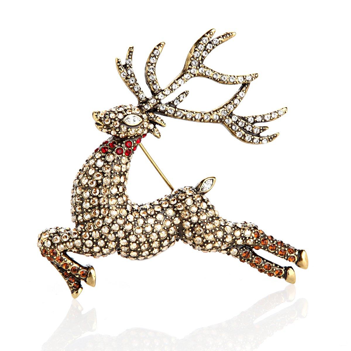 Heidi Daus Glitzen Reindeer Pin SOLDOUT EXQUISTE ONE OF A KIND SWAROVSKI CRYSTAL!!!