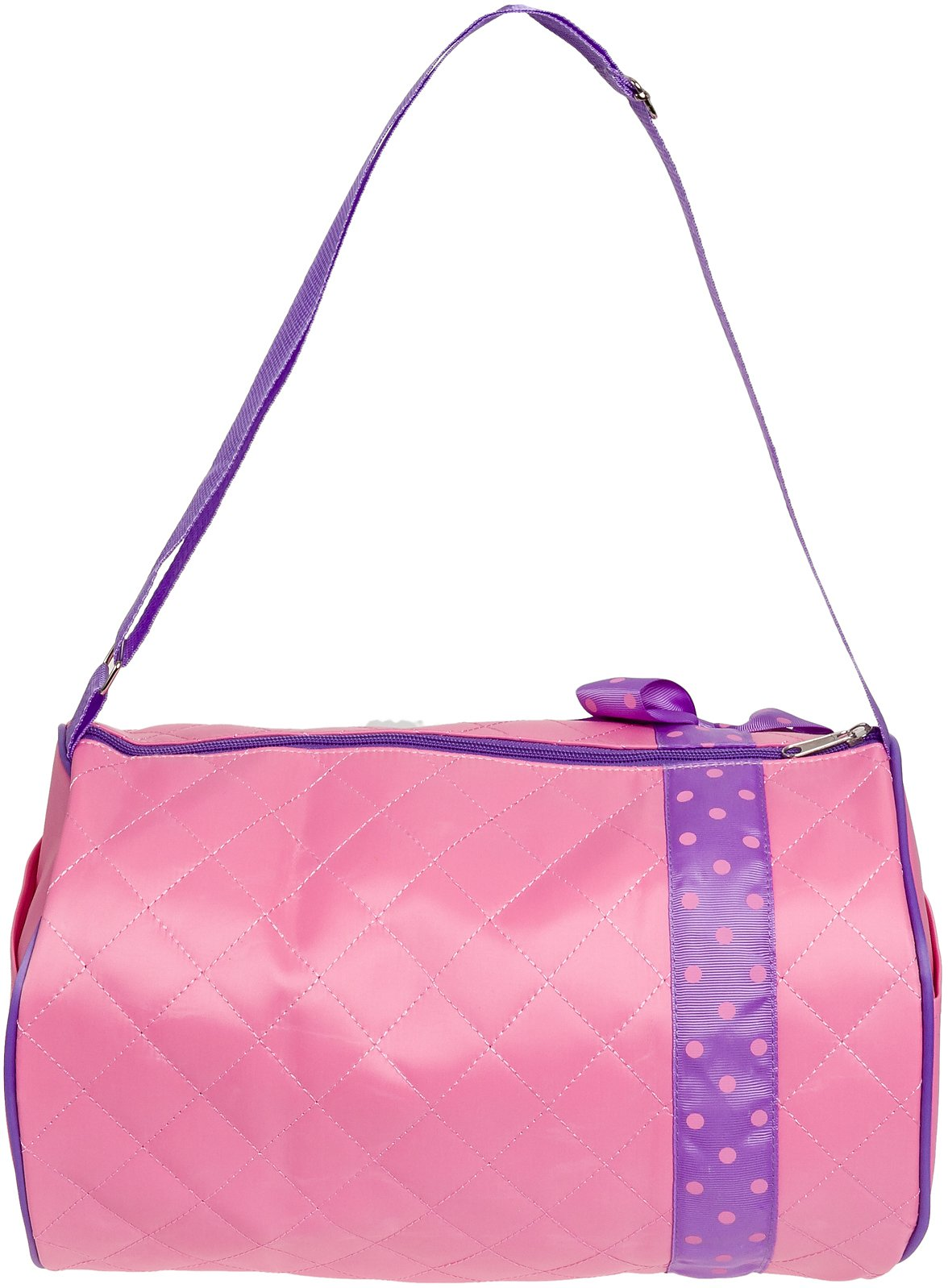 Silver Lilly Girls Dance Bag - Quilted Duffle Bag w/Lavender Bow (Light Pink) by Silver Lilly (Image #2)