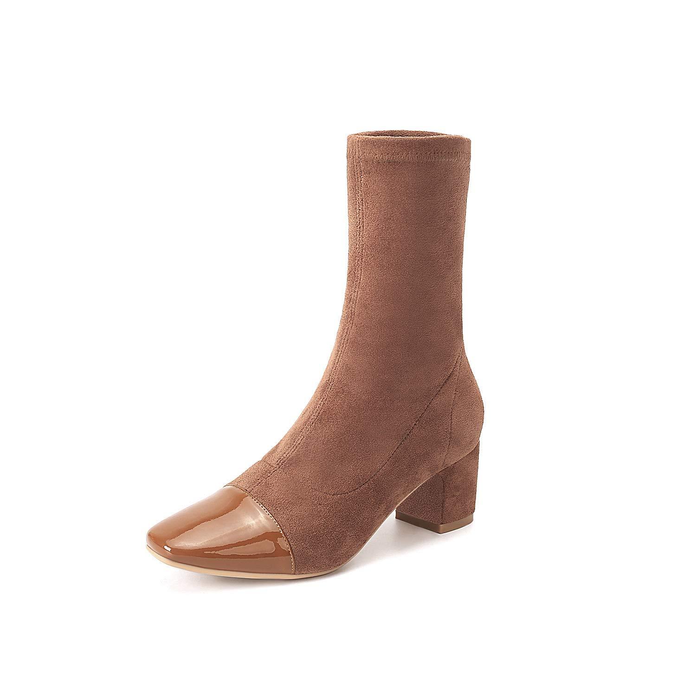 Botines Cuadrados con tacón Alto para Mujer: Amazon.es: Zapatos y complementos