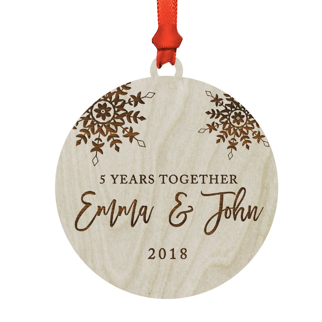 Andaz Press Personalized Wedding Anniversary Laser Engraved Wood Christmas Ornament, 5 Years Together 2018, Snowflakes, 1-Pack, Includes Ribbon and Gift Bag, Custom Name