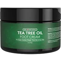 Tea Tree Oil Foot Cream - Instantly Hydrates and Moisturizes Cracked or Callused Feet - Rapid Relief Heel Cream - Antifungal Treatment Helps & Soothes Irritated Skin, Athletes Foot, Body Acne (2oz)