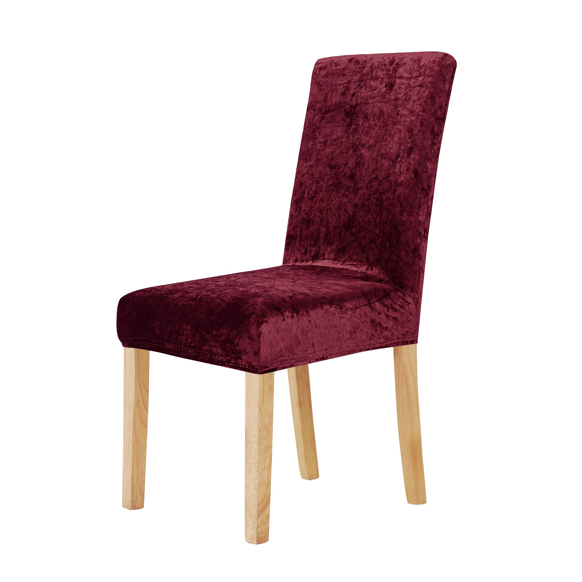 Deconovo Stretchy Velvet Chair Covers Removable Wedding Party Chair Slipcover for Dining Room Set of 4 Red by Deconovo