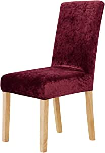 Deconovo Stretchy Velvet Chair Covers Removable Wedding Party Chair Slipcover for Dining Room, Velvet Fabric Polyester Blend, Red, 46 * 46 * 60