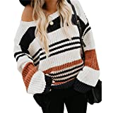KIRUNDO Women's Stripe Color Block Short Sweater Long Sleeves Stitching Color Round Neck Loose Pullovers Jumper Tops