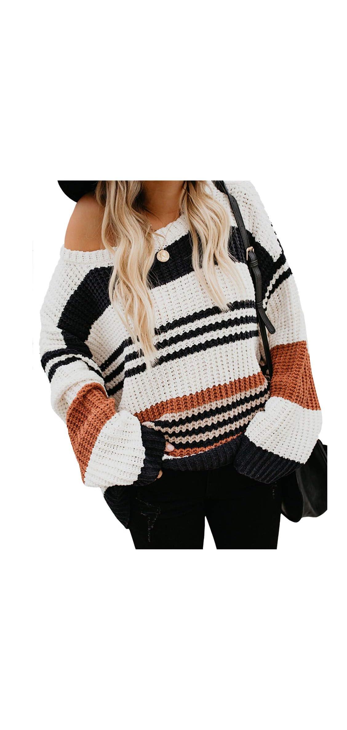 Womens Strip Color Block Short Sweater Long Sleeves