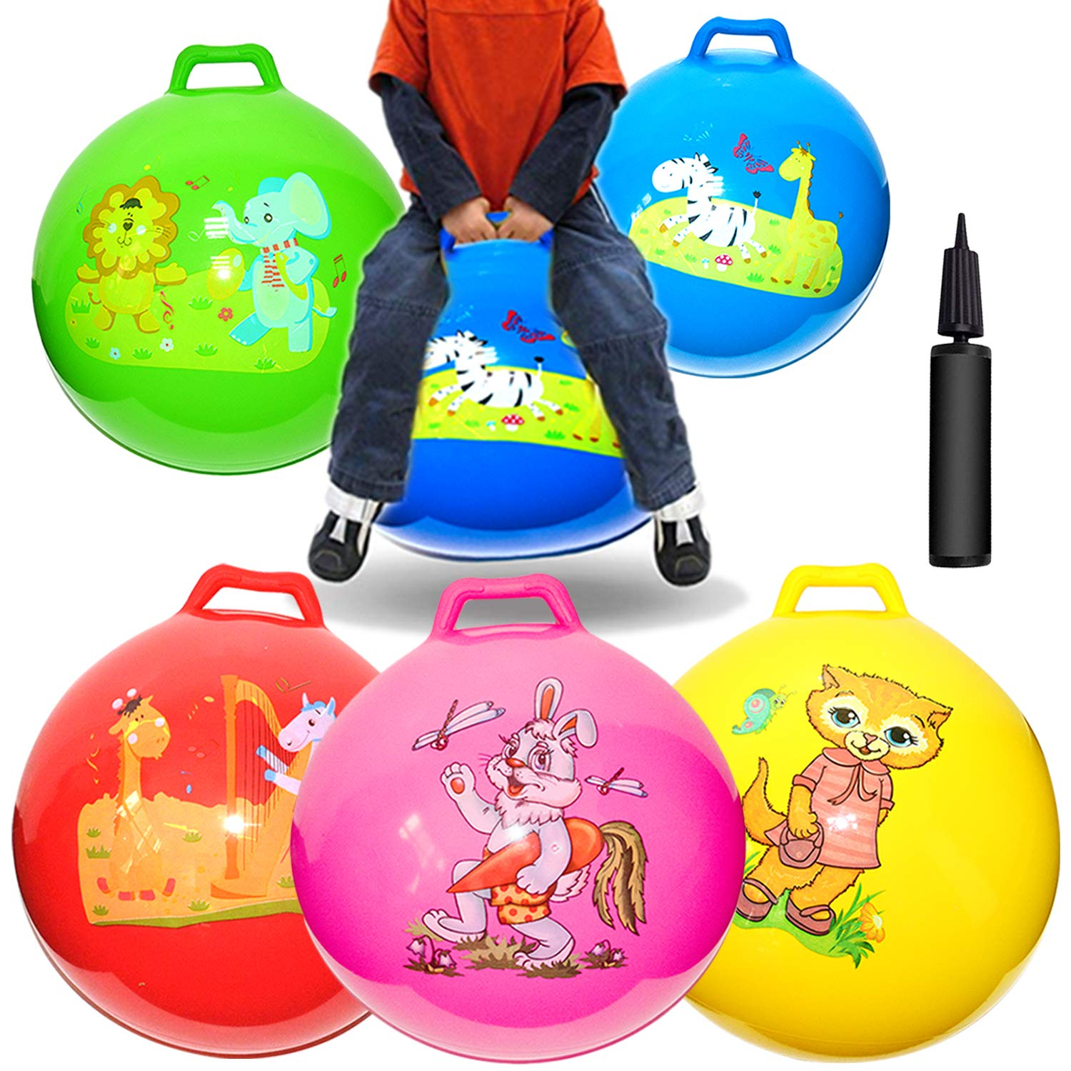 Space Hopper Hop Bouncy Jumping Ball with Handle for Kids Ages 3-6 Ride On Toys Hoppers Games, 5 Pack 18 Inch Hopper Balls and Pump for Kids School Family Team Sports Birthday Party Favors