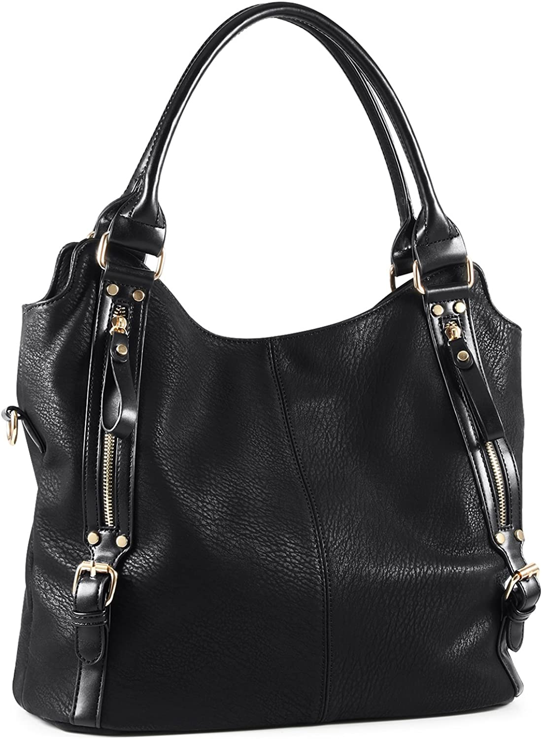 Ladies 3 in 1 Top Zip Closing Faux Leather Tote Woman Shopper Shoulder Hobo Bag