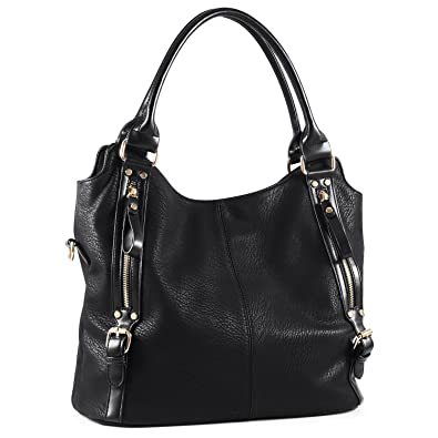 Amazon.com  Plambag Women Faux Leather Hobo Handbag Large Tote Purse(Black)   Shoes 7a8b6daee398a