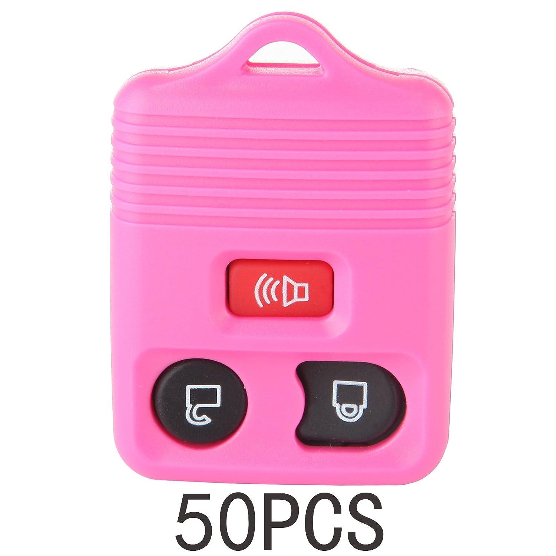 ECCPP 50 x新しいピンク交換キーレスリモート車ボタンパッドトラックキーFobシェルケース B07BCCHP2J