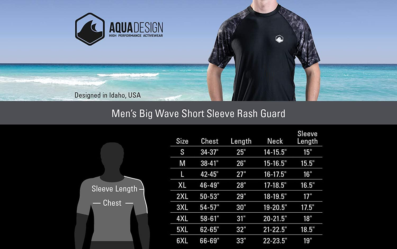 Surf Swim Rashguard Shirts Aqua Design Mens Short Sleeve Rash Guard Shirt