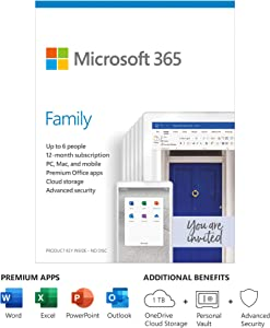 Microsoft 365 Family 1 Year Subscription For Up To 6 Users - For Windows, macOS, iOS, and Android devices - PC/Mac Keycard - 1TB OneDrive cloud storage - Premium Office apps - 12-month subscription