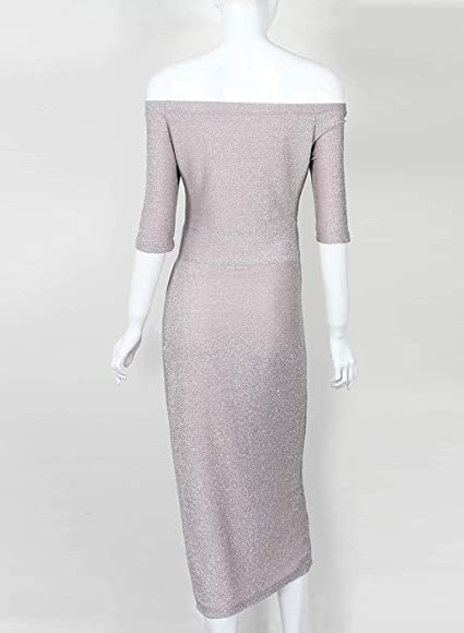 Women's Off Shoulder High Slit Evening Party Dress Cocktail 34 Sleeve Metallic Knit Ruched Shiny Midi Dress