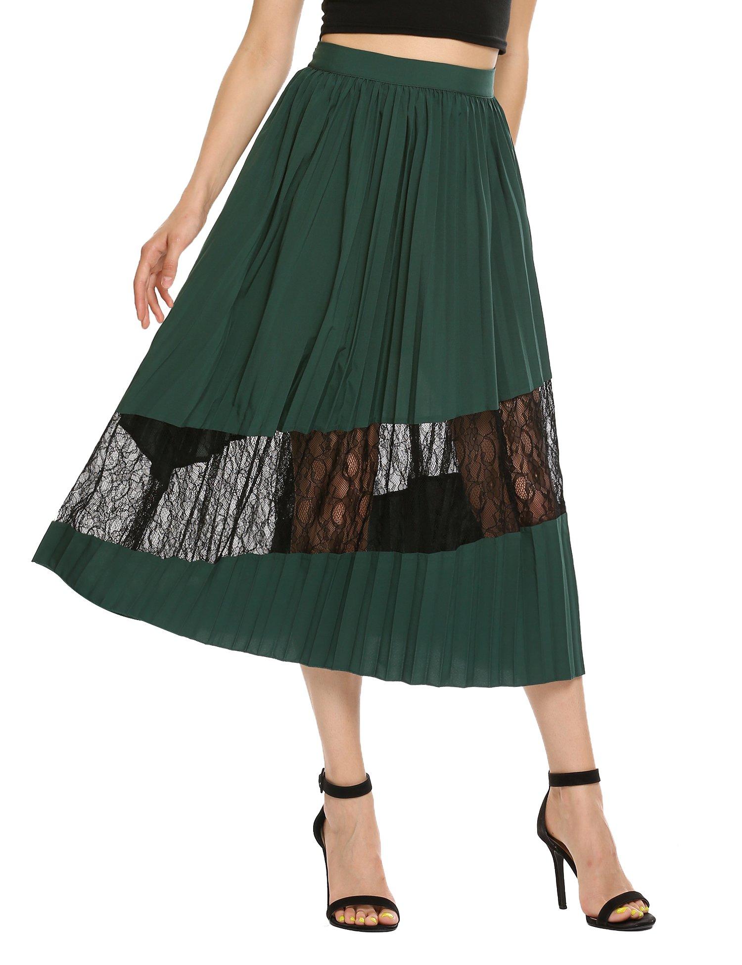 Zeagoo Women's Chiffon Lace Stitching Pleated Skirt Dark Green S