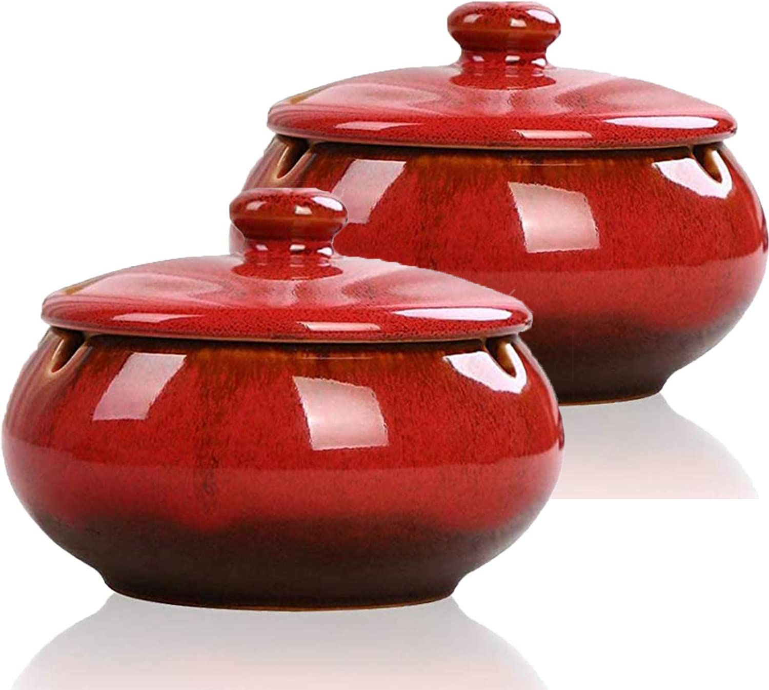 Fekuar 2 Pack Ceramic Ashtray with Lids, Windproof, Cigarette Ashtray for Indoor or Outdoor Use,Ash Holder for Smokers,Desktop Smoking Ash Tray for Home Office Decoration (red)