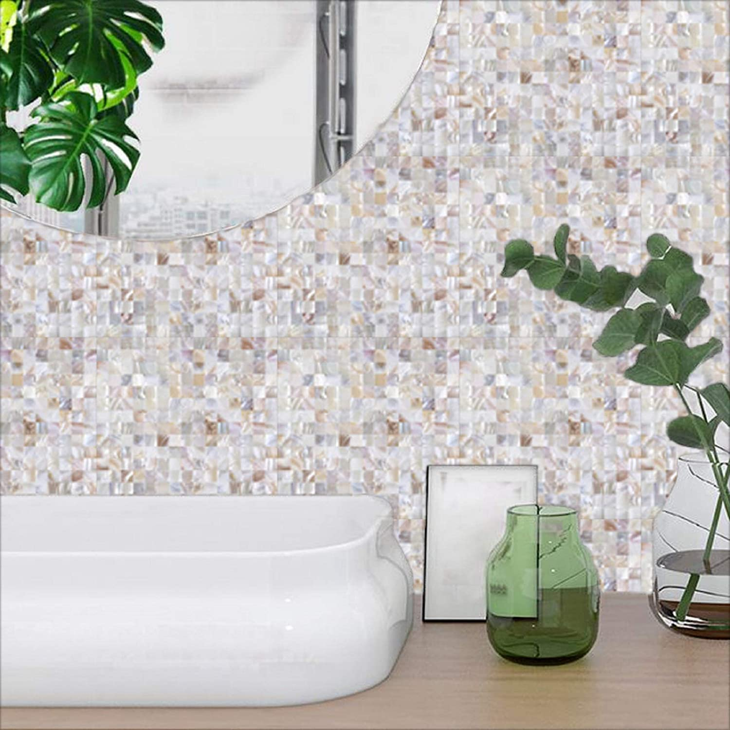 12X12X0.079 2MM 6 Sheets DIY Peel and Stick 3D Wall Decor Genuine Mother of Pearl Shell Mosaic Tile for Kitchen Backsplash Jhana Tile Natural Color, Box of 6 Sheets Bathroom Accent Wall