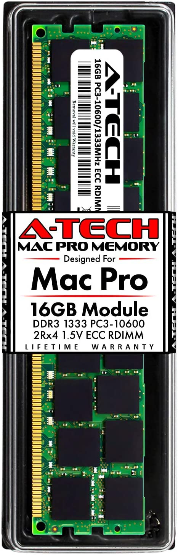 A-Tech 16GB ECC RDIMM Memory for Mac Pro Mid 2010 & Mid 2012 (MacPro5,1) | DDR3 1333MHz ECC Registered DIMM PC3-10600 Dual Rank 2Rx4 1.5V 240 Pin RAM Upgrade