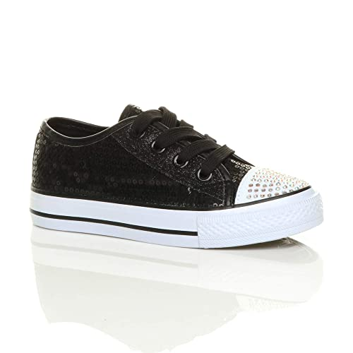 d82b0dac1f2f Girls Kids Childrens Flat Glitter lace up Plimsoles Trainers Sneakers Size  1 Black