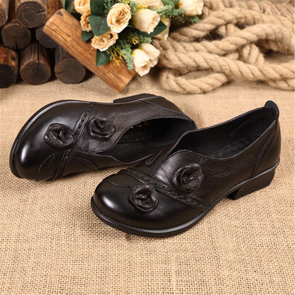 Socofy Damen Mokassins Leder Loafers Bootsschuhe Mary Janes Damenschuhe mit Blockabsatz Halbschuhe Slippers Erbsenschuhe Frauen Pumps Vintage Party