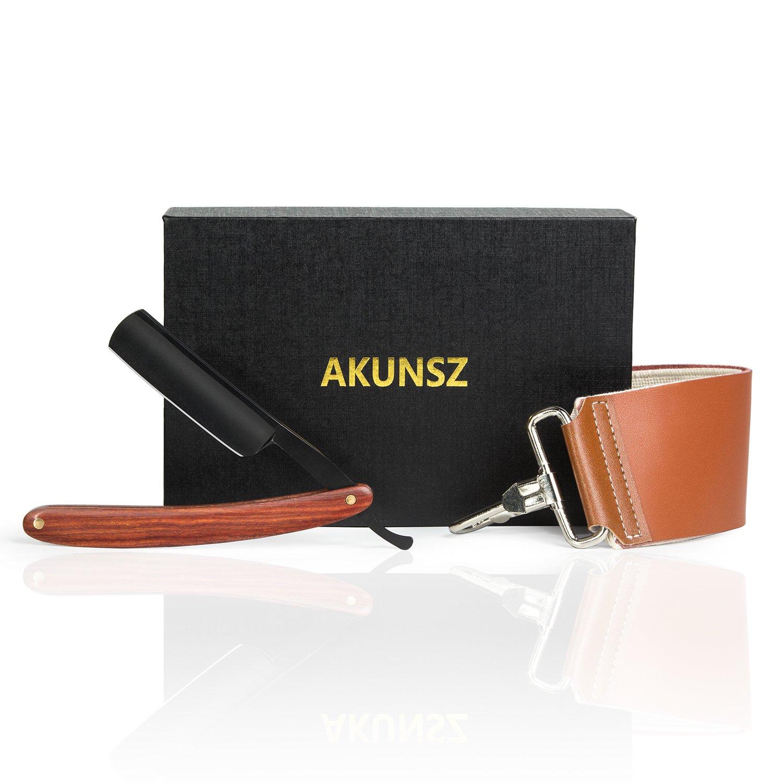 Straight Razor Kit AKUNSZ Black Cutthroat Razor with Leather Strop - Black Matte Blade & Rosewood Handle