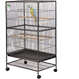 """BestPet Bird Cage Parrot Flight Cage 53"""" Large Birdcage Heavy Duty Iron Perch Stand Two Doors Iron Aviary Pet House"""