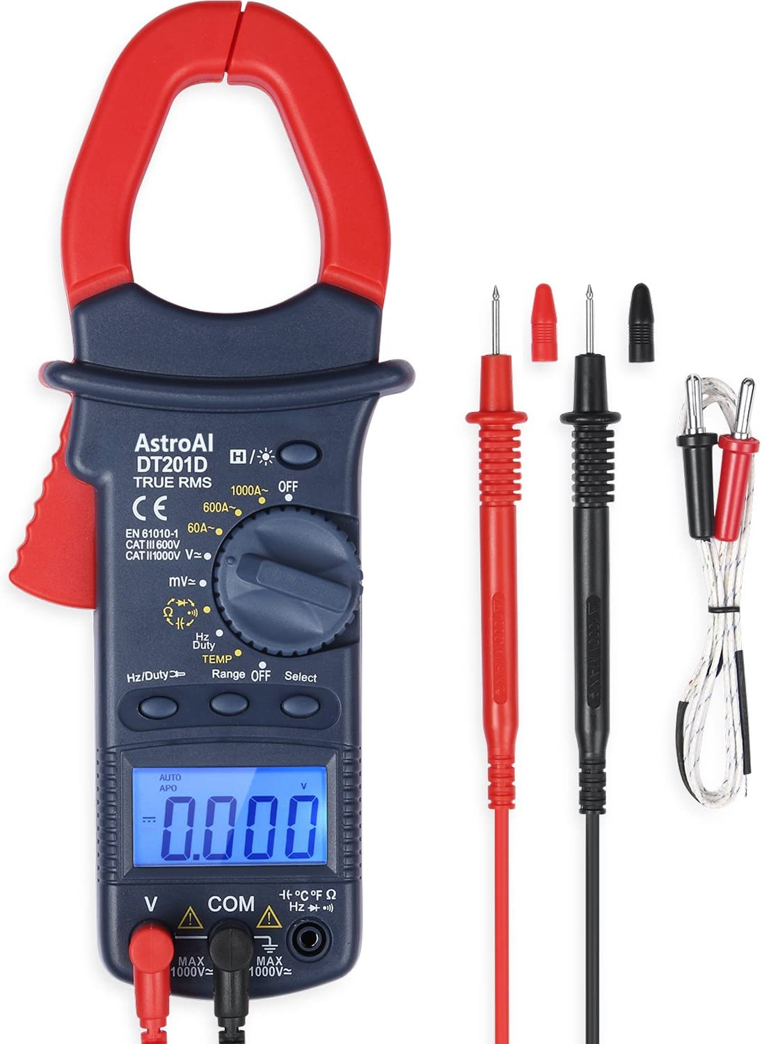 AstroAI Digital Clamp Meter, TRMS 6000 Counts Multimeter Volt Amp Ohm Meter with Manual and Auto Ranging, Continuity, Frequency; Diodes, Temperatur Tester, Ideal for Father's Day Gifts
