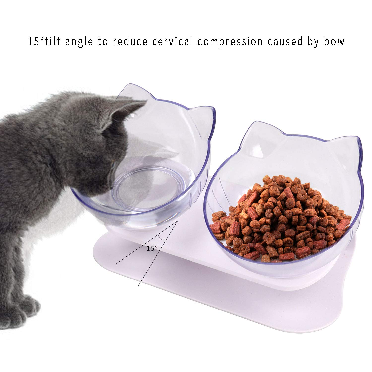 Legendog Double Cat Bowls, Anti Skid Tilting Neck Protective Cat Food Water Bowls, Cat Bowls with Stand, Pet Bowls with Food Scoop for Cats and Small Dogs