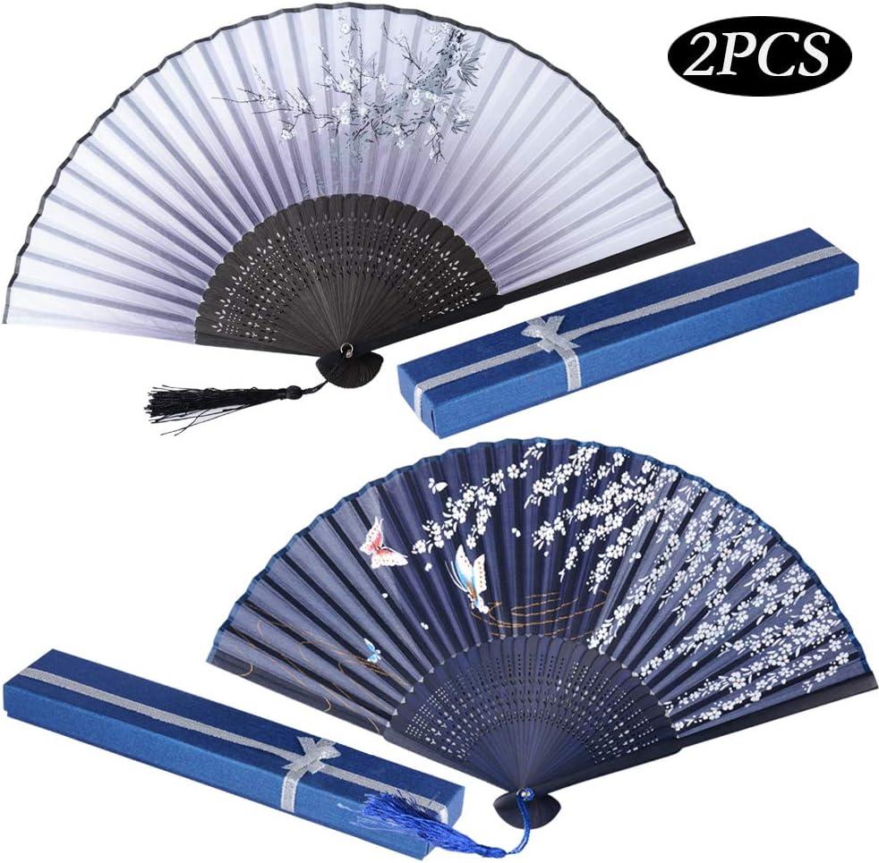 JNCH 2pcs Abanico Plegable de Mano Abanicos Bambú y Seda Ventilador de Mano Japones Patrón Sakura Mariposa Flor de Ciruelo con Cajas de Regalo para Boda Baile Fiesta Ceremonias Regalos Verano