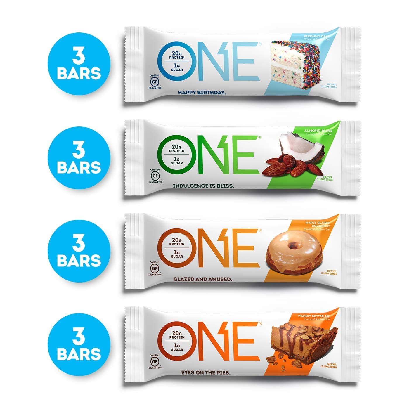 ONE Protein Bars, Best Sellers Variety Pack, Gluten Free with 20g Protein and only 1g Sugar, Includes Birthday Cake, Almond Bliss, Maple Glazed Doughnut & Peanut Butter Pie, 2.12 oz (12 Pack) by ONE