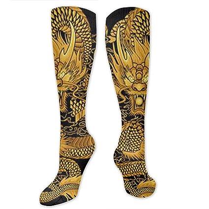 1b7b8a2a2e3 DIY Diamond Painting Dancing Chinese Dragon Polyester Cotton Over Knee Leg  High Socks Latest Unisex Thigh