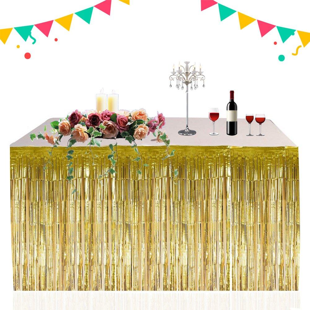 RONCHIN 2PCS Table Skirt Metallic Foil Fringe Shiny Tassel Elegant Table Skirt Thickened Table Curtain Easy to Install