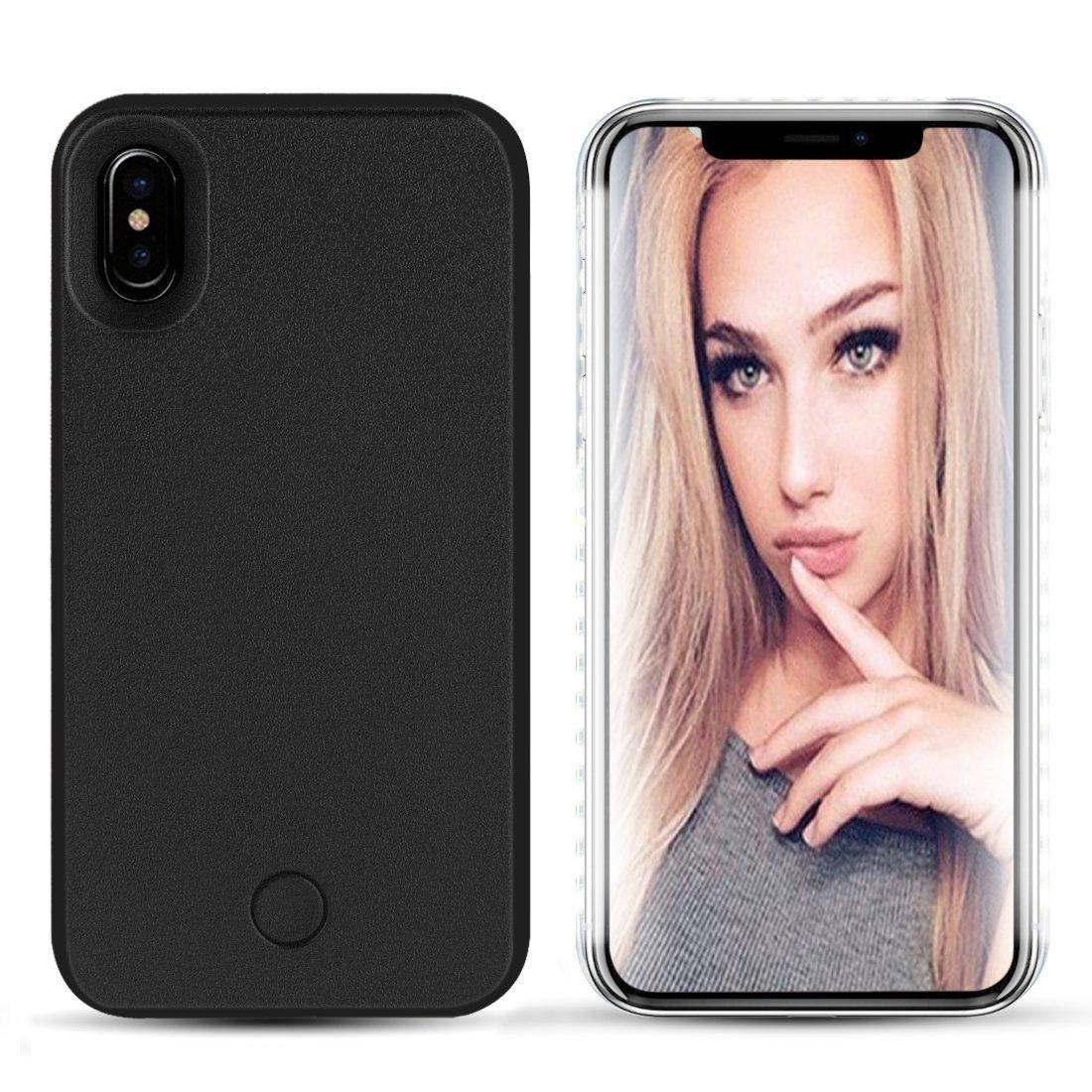 Avkkey iPhone XS MAX LED Caso iPhone XS MAX Selfie luz iPhone Caso Ideal para un Brillante Selfie y FaceTime Iluminado luz Up Carcasa para iPhone XS MAX 6.5''-Negro