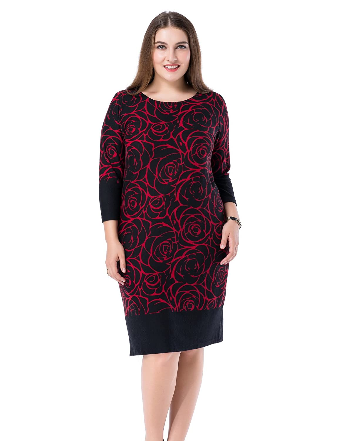 Chicwe Women's Plus Size Cashmere Touch Printed Shift Dress - Knee Length Work and Casual Dress C15C014