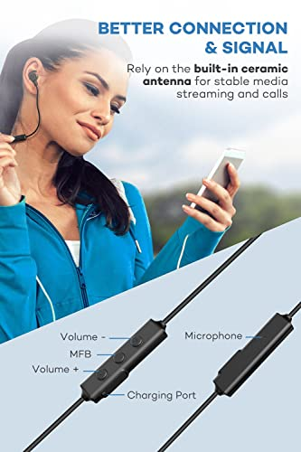 TaoTronics Bluetooth Headphones, Sweatproof Wireless In Ear Earbuds, Sports Magnetic Earphones TT-BH16US