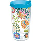 Tervis Boho Floral Chic Tumbler with Travel Lid, 16 oz, Clear