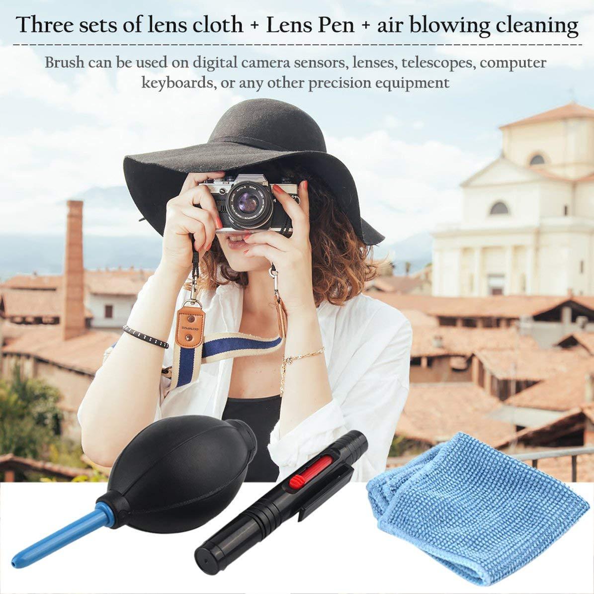 Spazzola per panno di pulizia e aeratore in 1 set Kit di pulizia per fotocamera digitale Fotografia polveri Filtro aria professionale Blu nero WEIWEITOE