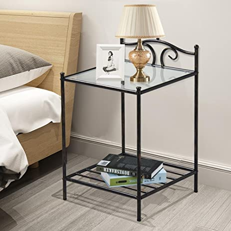 Topeakmart 2 Tier Metal Night Stand Antique Bedside Table Top Glass Shelf  Storage