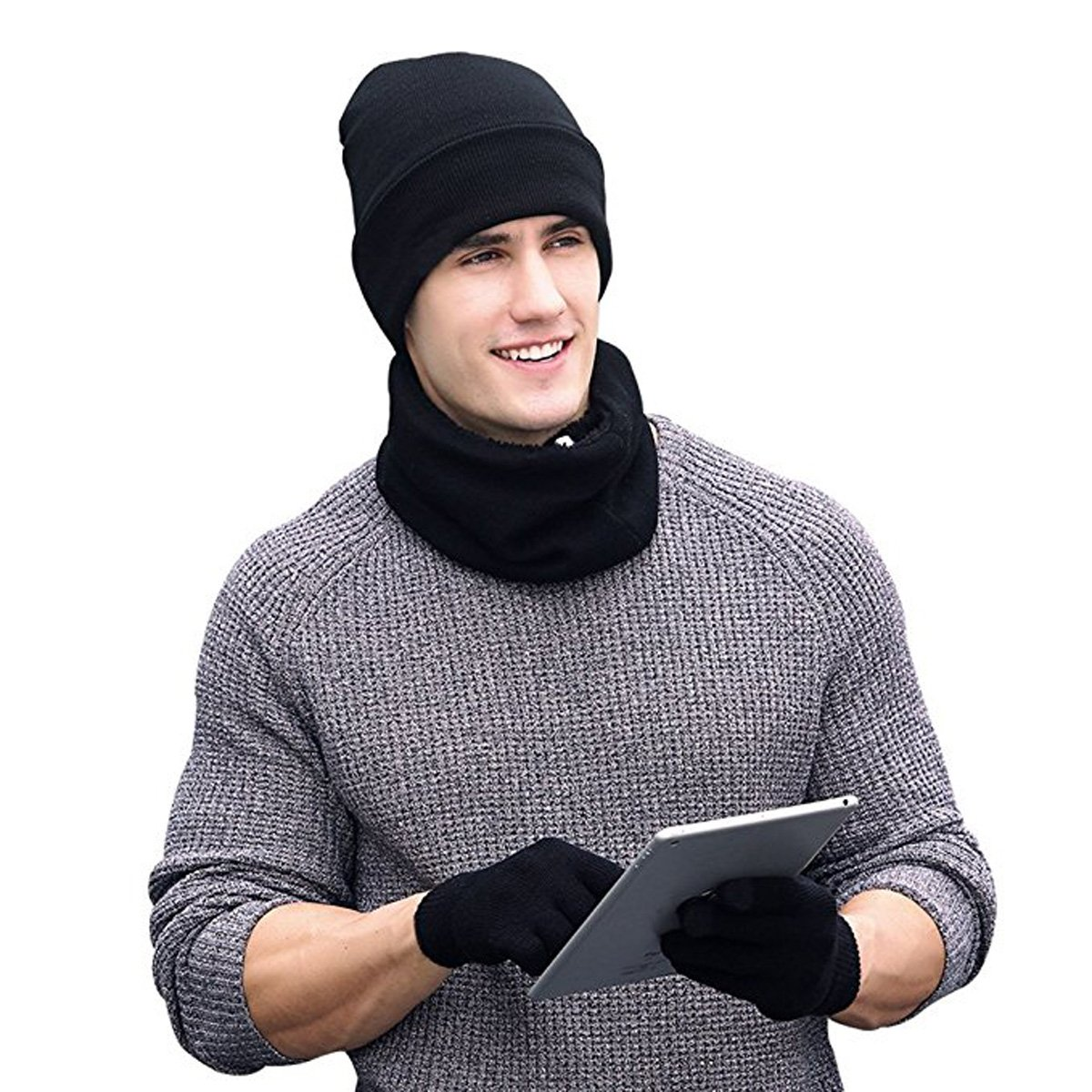 YOUWANG Men 3 PCS Knitted Set Winter Warm Knit Hat + Scarf + Touch Screen Gloves Black
